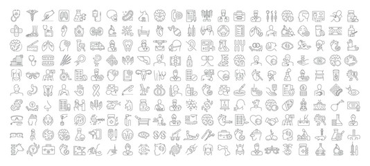 Vector graphic set. Icons in flat, contour, thin, minimal and linear design. Medicine and health.Collection logo and pictogram.Concept illustration for Web site. Sign, symbol, element. Fototapete