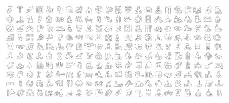 Vector graphic set. Icons in flat, contour, thin, minimal and linear design. Medicine and health.Collection logo and pictogram.Concept illustration for Web site. Sign, symbol, element.