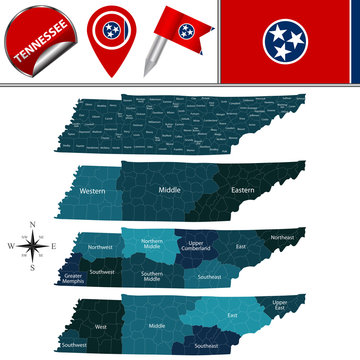 Map of Tennessee with Regions