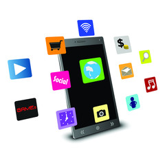 Mobile technology concepts applications vector 3D
