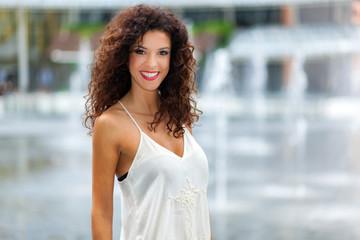 Portrait happy smiling woman outdoors