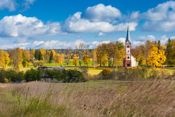 An old church in the countryside. Autumn time.