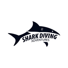 Diving Club. Emblem or logo with Shark. Vector illustration