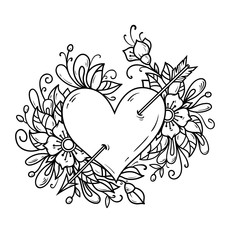 Heart pierced by arrow. Heart decorated flowers. Black and white illustration for Valentines Day.