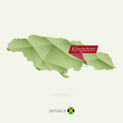 Green gradient low poly map of Jamaica with capital Kingston