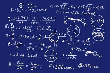 Physics, electronic engineering, mathematics equation, scheme and calculations, endless hand writing. Vector blueprint. Technology background.