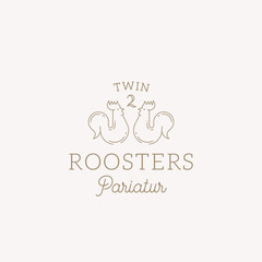 Twin Roosters Abstract Vector Sign, Symbol or Logo Template. Elegant Line Style Roosters Sillhouette with Classy Typography. Vintage Luxury Vector Emblem.