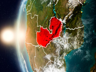 Zambia during sunset on Earth