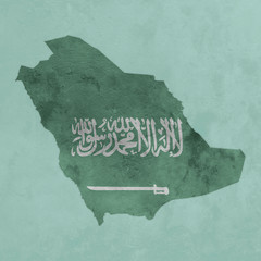 Carte texturée de l'arabie Saoudite avec un drapeau