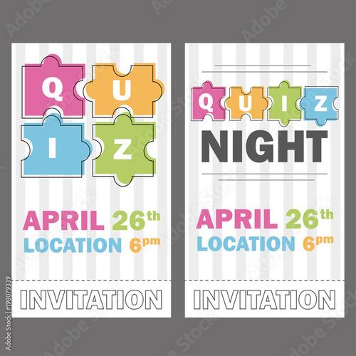 Quiz night thin line concept. Vector illustration - puzzle colored ...