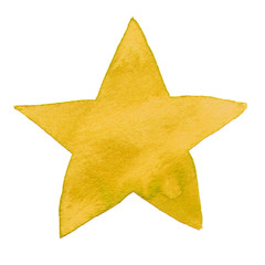 Watercolor illustrated yellow star