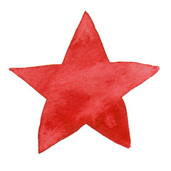 Watercolor illustrated red star