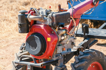 Close up of engine system of valves in agricultural machinery