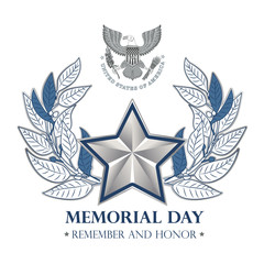Postcard, poster or banner for the Memorial Day