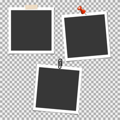Photo frame with pin, clip on grey background. Vector template, blank