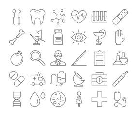 Medicine icons set.