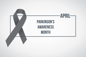 World Parkinson's awareness month. Vector illustration. Gray awareness ribbon poster on background. Symbol of the brain disorders.