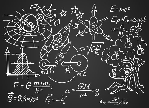 The law of force of gravity. Physical equations, formulas and schemes on blackboard. Vector hand-drawn illustration. Vintage scientific and educational background.