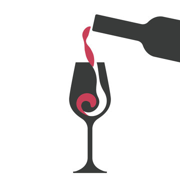 Filling a glass of red wine, wine glass and wine bottle vector silhouettes.