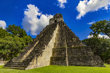 Guatemala. Tikal National Park (on UNESCO World Heritage Site since 1979). Great Jaguar Temple  (Temple I)