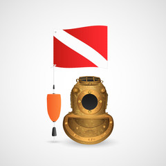 Scuba Diving Helmet and Flag