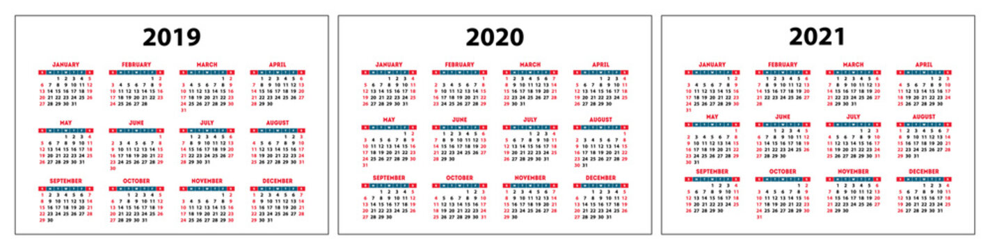 calendar 2019, 2020, 2021, red set pocket grid, vector template, week starts on sunday, planner
