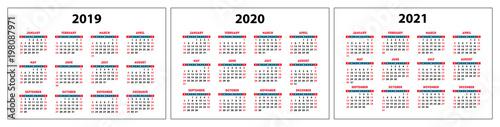 """""""calendar 2019, 2020, 2021, red set pocket grid, vector ..."""