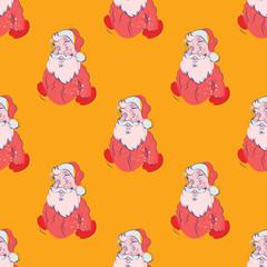 Santa christmas seamless pattern. Cartoon style pattern design.