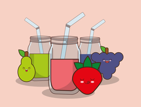 kawaii fruits and smoothies jars over pink background, colorful design. vector illustration