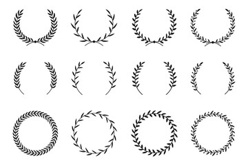 Collection of different laurel wreaths. Hand drawn vector round frames for invitations, greeting cards, quotes, logos, posters and more. Vector