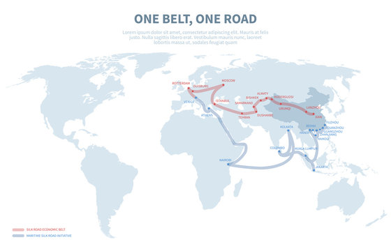 Asia and Europe international transit way. Chinese transport new silk road. Export and import path globe map vector illustration