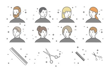 A set of eight portraits of men and women with different hairstyles in a beauty salon. Scissors icon.