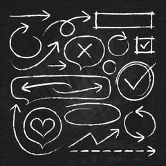 Hand drawn white chalk arrows, circle frames and sketch graphic elements isolated on blackboard vector set