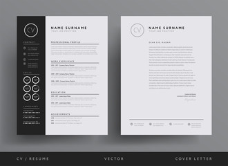 Professional CV resume template design and  letterhead / cover letter - vector minimalist Wall mural
