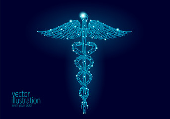 Medical Caduceus symbol low poly modern design. Innovation technology medicine future center polygon triangle blue glowing sign. Snake and wings abstract vector illustration dark background