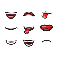 Smiling lips, mouth with tongue, white toothed smile and sad expression mouth and lips vector icon. Lips and mouth expressing different emotions, funny and sad smiles isolated on white background.