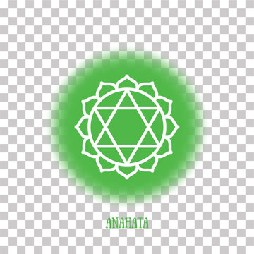 Anahata chakra. Color round symbol on a transparent background. Line white icon