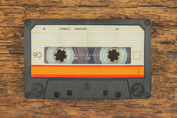 Retro styled image of an old audio compact cassette
