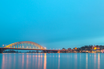 Panoramic evening view of the Dutch city of Nijmegen