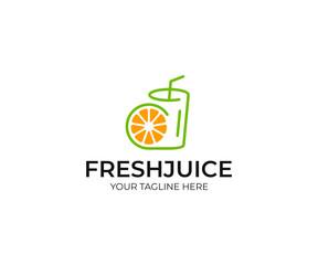 Orange juice logo template. Fruit slice and juice glass vector design. Fresh fruit drink logotype
