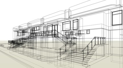 architecture building 3d illustration