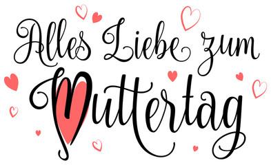 Alles Liebe zum Muttertag mit Herzen