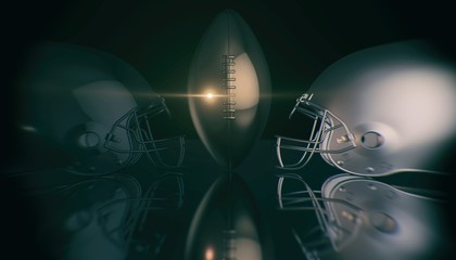 American football helmets and trophy ball on black dark background, 3d rendering