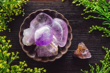 Ceramic Bowl of Amethyst Crystals