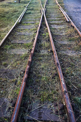 Intersection of destroyed railway tracks in Poland.