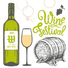 Vector illustration with bottle, glass, cask in sketch style. Alcoholic beverages set. Wine festival. Brush calligraphy illustrations for your design. Handwritten ink lettering.