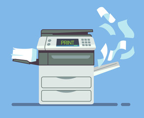 Professional office copier, multifunction printer printing paper documents isolated vector illustration