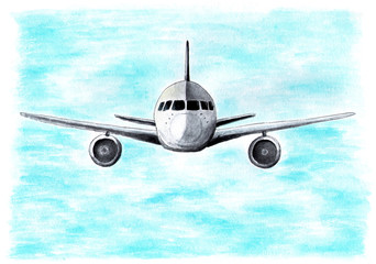 The plane in the sky flies to the camera. Watercolor illustration.