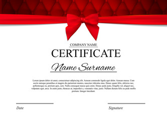 Certificate template Background with red bow. Award diploma design blank. Vector Illustration