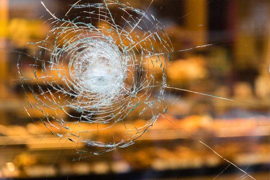 cracked window glass